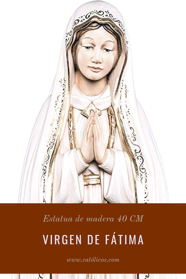 virgen de fátima estatua de madera